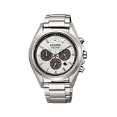 【Citizen星辰】GENT'S光動能強悍質感三眼計時腕錶-百搭白/CA4390-55A/台灣總代理公司貨享兩年保固