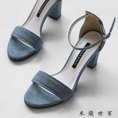 涼鞋夏季中跟羅馬高跟鞋一字扣粗跟