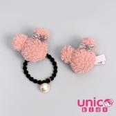 UNICO 兒童 韓風毛絨米奇造型髮圈+髮夾2入組