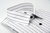 【金‧安德森】白灰條紋緹花金線窄版長袖襯衫