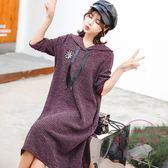 孕婦毛衣 孕婦連身裙秋冬時尚孕婦新品針織連帽打底衫寬鬆中長款連身裙