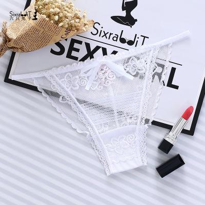 女士性感三角內褲透明蕾絲誘惑低腰丁字褲大碼超薄透氣夏6入-Six