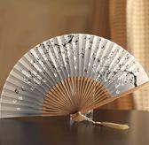 女扇日本和風扇子竹柄折扇真絲布扇夏季扇