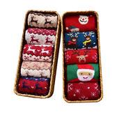 襪子女秋冬韓版中筒襪聖誕節加厚羊毛保暖長襪