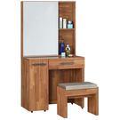 【森可家居】亞瑟2.7尺柚木集層化妝台(含椅) 7JF024-3 梳化妝鏡檯 木紋質感 北歐工業風