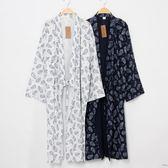 日式和風睡袍男士睡衣春秋浴袍純棉和服寬鬆系帶長款薄款夏季浴衣