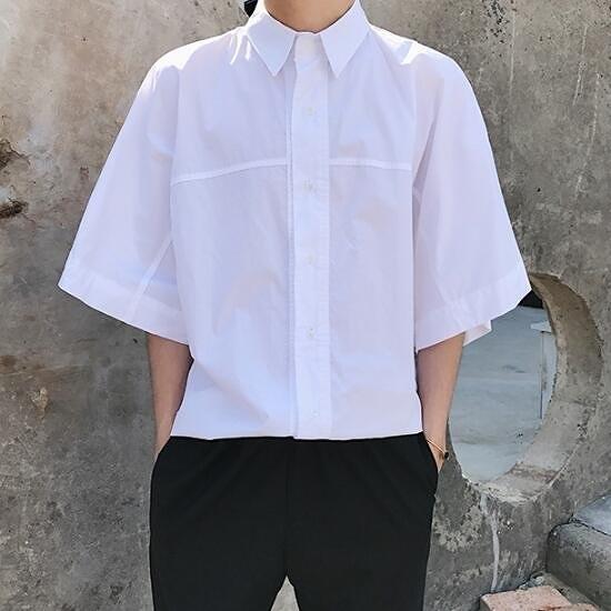 找到自己 MD 韓國 街頭時尚 潮 男 簡約純色素面 白色 寬鬆 短袖襯衫 特色短T