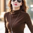 半高領打底衫女長袖t恤春秋冬內搭修身秋衣中領洋氣黑色百搭上衣 酷男精品館