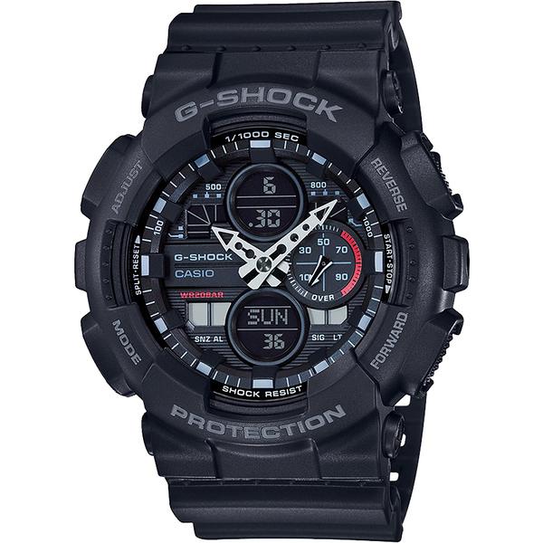 CASIO 卡西歐 G-SHOCK 90年代音響概念手錶-霧黑 GA-140-1A1