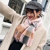 圍巾-仿羊絨拼色格子流蘇秋冬女披肩6色73ub33[巴黎精品]