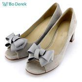 【Bo Derek】蝴蝶結羊皮魚口粗跟鞋-灰