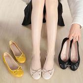 2019春季新款女鞋圓頭軟底軟面平跟單鞋淺口黃色蝴蝶結平底鞋瓢鞋【快速出貨】
