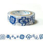 Shinzi Katoh 加藤真治 紙膠帶15mm(小藍花)★funbox生活用品★_ZI02365