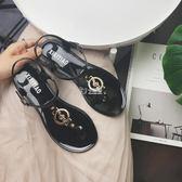 現貨出清夾腳波西米亞涼鞋女平底新款學生百搭音符夾趾鞋子涼鞋   卡菲婭5-8