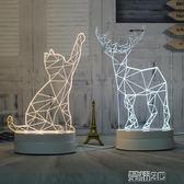 小夜燈 3D小夜燈插電床頭燈創意夢幻可愛比心檯燈柔光臥室麋鹿正韓貓刻字 榮耀3c