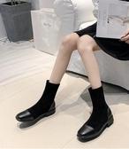 復古彈力瘦瘦靴女新款網紅百搭襪子鞋方頭短靴馬丁短靴女鞋潮 伊衫風尚