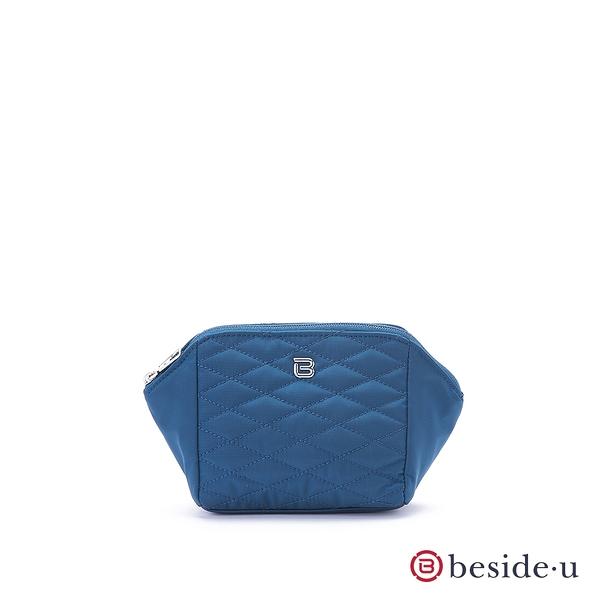 beside u 官方直營 BTTES經典菱格紋車線化妝包袋中袋– 藍色