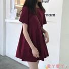 短袖洋裝 2021年夏季新款短袖t恤女初戀法國復古小個子超仙女甜美連身裙子 愛丫 免運