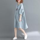 中大尺碼洋裝 適合胖女人穿的夏裝2021新款大碼連身裙洋氣寬鬆減齡遮肚中長款潮
