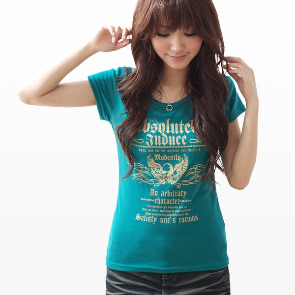 棉T--豔陽下的酷帥風格-燙金粉翅膀骷髏頭圖騰圓領短袖棉T(黑.綠.藍S-XL)-F05眼圈熊中大尺碼
