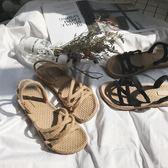 草編鞋南在南方厚底草編麻繩涼鞋女夏中跟兩穿一字拖鞋女羅馬鞋 愛麗絲精品