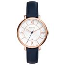 FOSSIL 網羅質感日期時尚腕錶-玫瑰金框白x深藍皮帶
