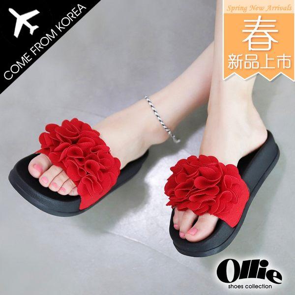 韓國 Ollie 韓國空運 版型正常 亮眼立體大花 質感布面 顯瘦厚底 涼拖鞋【F720647】3色 SD韓美鞋
