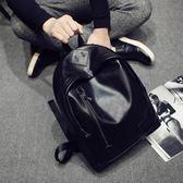 男雙肩包初高中學生書包男復古時尚潮流pu皮包純色簡約旅游背包 森雅誠品