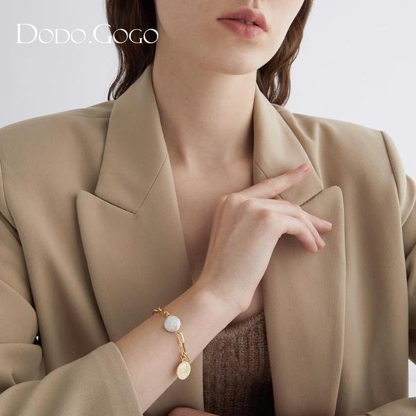 手鐲 珍珠手鍊女ins潮小眾設計高級感圓盤手鐲簡約時尚氣質冷淡風手飾 美物