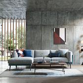 林氏木業現代雙色右L三人布沙發(附抱枕)RBE2K-幽藍色+淺灰色
