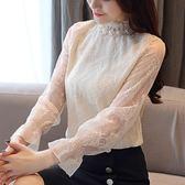 秋冬新款韓版保暖上衣時尚加絨蕾絲打底衫洋氣雪紡小衫女長袖    韓小姐