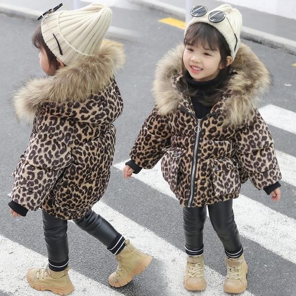 女童棉衣外套 新款潮兒童韓版羽絨棉服 女寶寶豹紋洋氣冬裝棉襖