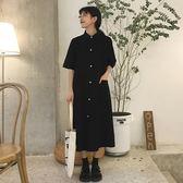 秋裝女裝韓版氣質中長款寬松單排扣短袖襯衫 洋裝a字裙長裙顯瘦「輕時光」