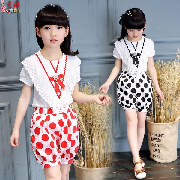 衣童趣 ♥韓版 中大女童 點點 可愛 休閒套裝 兩件式套裝  悄皮女童套裝