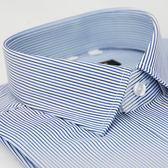【金‧安德森】藍黑條紋窄版短袖襯衫