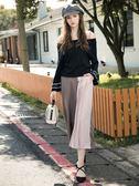 秋冬單一價[H2O]打褶不對稱拼色設計顯瘦寬口褲 - 深藍/灰藍/咖啡色 #8658005