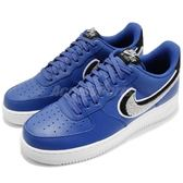 Nike 休閒鞋 Air Force 1 07 LV8 藍 黑 3D 毛巾布勾勾 男鞋 運動鞋【PUMP306】 823511-409