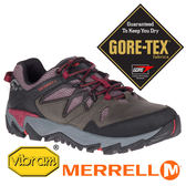 【MERRELL 美國】ALL OUT 女GORE-TEX多功能健行鞋『灰褐/暗紅』41060 機能鞋.多功能鞋.登山鞋