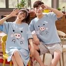 睡衣 情侶睡衣女夏季棉質短袖韓版夏天男士睡裙寬鬆薄款家居服兩件套裝