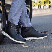 [現貨] 韓版時尚簡約百塔黑色素面白底綁帶男雨靴短筒短靴防滑雨鞋【QZZZ9004】