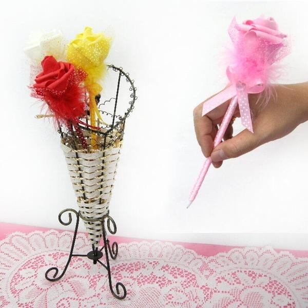 【GB310】緞帶玫瑰花圓珠筆『精美盒裝』原子筆 婚禮小禮物 簽名筆 情人節玫瑰造型筆 EZGO商城