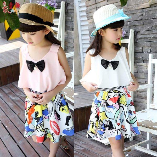 衣童趣 ♥可愛甜美蝴蝶結 無袖連身洋裝 下擺塗鴉撞色傘狀 連身裙百搭度假款