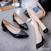 春秋女鞋韓版氣質女士中跟高跟鞋粗跟單鞋尖頭漆皮職業工作鞋夏季   潮流前線