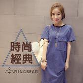 長版上衣--海濱風條紋棉質前拉鍊口袋設計開衩下襬長上衣(橘.藍L-3L)-D453眼圈熊中大尺碼