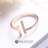 [鈦鋼]低喃的思念平行線點鑽戒指【KTL518】璀璨之星☆
