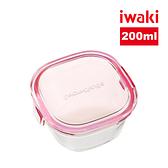 【iwaki】日本耐熱玻璃方形微波保鮮盒200ml-粉