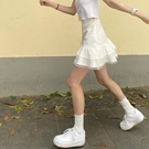 網紗裙 裙子仙女夏天白色蛋糕裙網紗短裙高腰a字小清新半身裙-Ballet朵朵