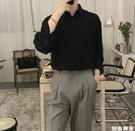 黑色垂感襯衫 韓版長袖 潮流暗黑系 絲滑寬鬆情侶襯衣 自由角落