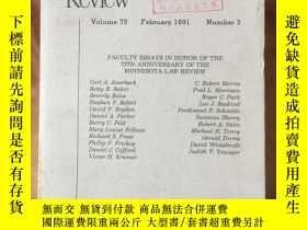 二手書博民逛書店Minnesota罕見LAW REVIEW Vol.75 No.3Y4615 University of Mi