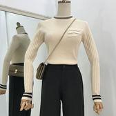 時尚正韓簡約修身口袋針織上衣女